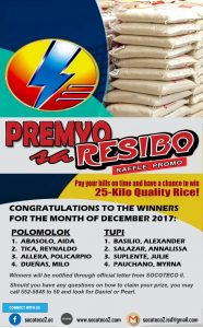 DECEMBER 2017 WINNERS OF PREMYO SA RESIBO RAFFLE PROMO