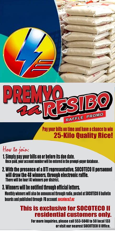 DECEMBER 2017 WINNERS OF PREMYO SA RESIBO RAFFLE PROMO - Socoteco 2
