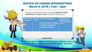 NOTICE OF POWER INTERRUPTION – MARCH 3, 2018