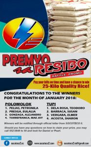 RAFFLE PA-PREMYO SA RESIBO PROMO JANUARY 2018 WINNERS