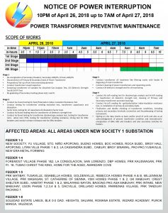 NOTICE OF POWER INTERRUPTION – APRIL 26, 2018 to MAY 5, 2018