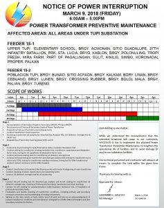 NOTICE OF POWER INTERRUPTION – MARCH 9-11, 2018