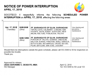 NOTICE OF POWER INTERRUPTION – APRIL 17, 2018