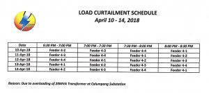NOTICE OF ROTATIONAL BROWNOUT – APRIL 10-14, 2018
