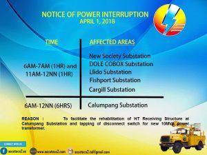 NOTICE OF POWER INTERRUPTION -APRIL 1, 2018