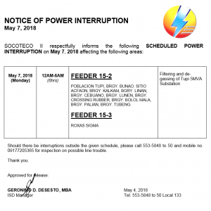 NOTICE OF POWER INTERRUPTION –  May 7, 2018