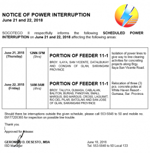 NOTICE OF POWER INTERRUPTION – JUNE 21-22, 2018