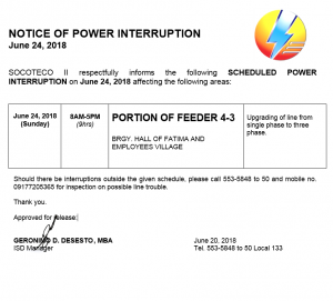 NOTICE OF POWER INTERRUPTION – JUNE 24, 2018