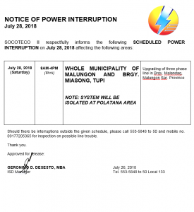NOTICE OF POWER INTERRUPTION -JULY 28, 2018