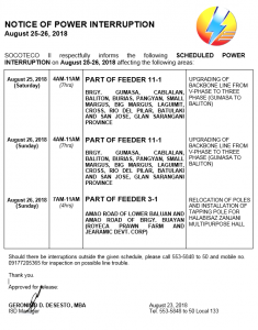 NOTICE OF POWER INTERRUPTION – AUGUST 25-26, 2018