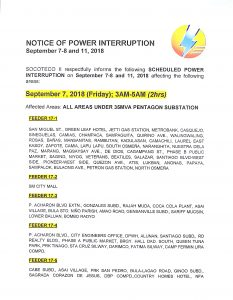 NOTICE OF POWER INTERRUPTION – SEPT. 7-8 AND 11, 2018