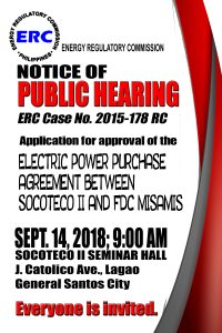 NOTICE OF PUBLIC HEARING – ERC Case no. 2015-178 RC