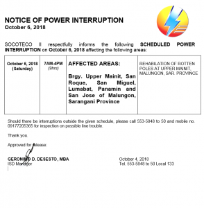 NOTICE OF POWER INTERRUPTION – OCTOBER 6, 2018