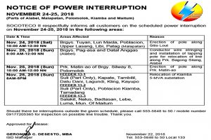 Notice of Power Interruption- November 24-25, 2018