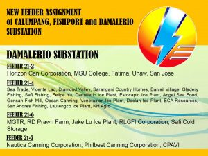 NEW FEEDER ASSIGNMENT OF CALUMPANG, FISHPORT and DAMALERIO SUBSTATION