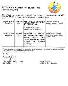NOTICE OF POWER INTERRUPTION – JANUARY 12, 2018