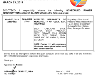 NOTICE OF POWER INTERRUPTION – MARCH 23, 2019